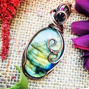 Yellow labradorite copper wrapped pendant necklace